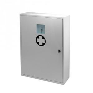 Nástěnná uzamykatelná kovová lékárnička se schránkou na klíč (výroba, dílny)