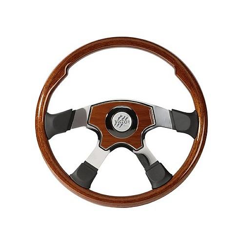 MILESTONE - mahagonový volant s koženými doplňky, průměr 457mm
