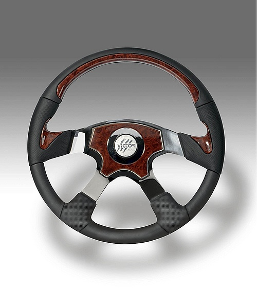 TRAVELLER - kožený volant, průměr 457