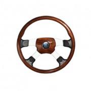 OVERLAND 4 - mahogonový volant s koženými doplňky, průměr 450 mm