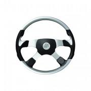 PATHFINDER 4 - stříbrný volant s koženými doplňky, průměr 450 mm