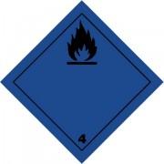 Značka Látky-ve styku s vodou vyvíjejí hořl. plyny - folie samolepící