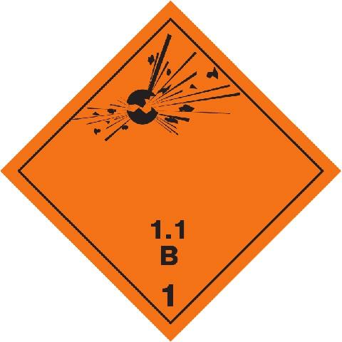 Značka Výbušné látky a předměty podtř. 1.1 - hliník