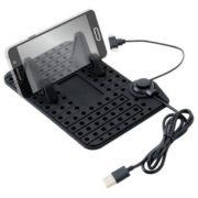 Držák s podložkou vč. kabelu micro USB - telefony (různé typy+iPhone 5 a vyšší )